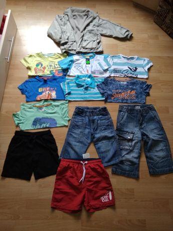 Ubrania 122 dla chłopca bluzki spodenki na lato + kurtka z polarem