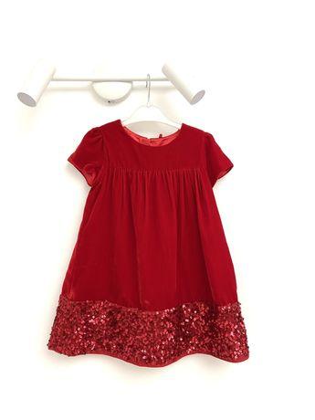Нарядное бархатное красное платье сукня m&s 104-110 как next zara h&m