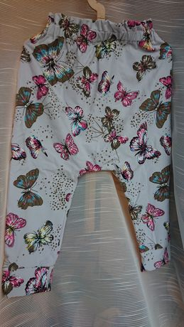 Handmade 86/92 nowe cienkie spodnie legginsy motyle złoto jasny szary