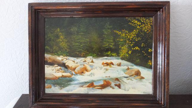 42х33см картина масло на холсте Горная река Карпаты Осень в горах