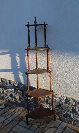Estante de canto em madeira antiga/vintage