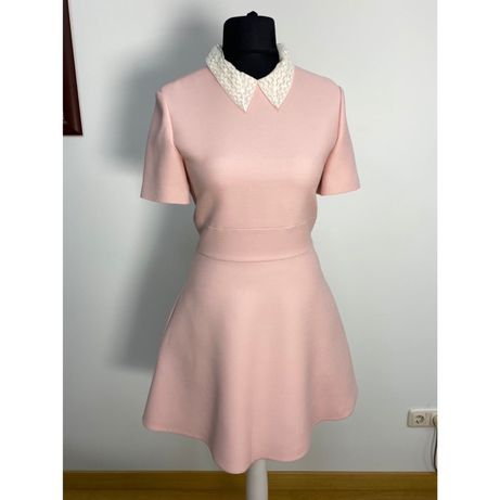Платье Christian Dior розовое шерсть шелк