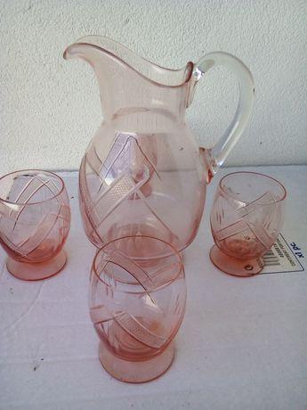 Conjunto de jarro e 4 copos, anos 30/40
