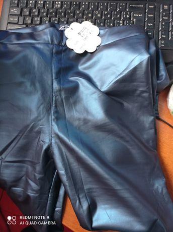 Лосины из эко кожи 164-170 синий перламутр