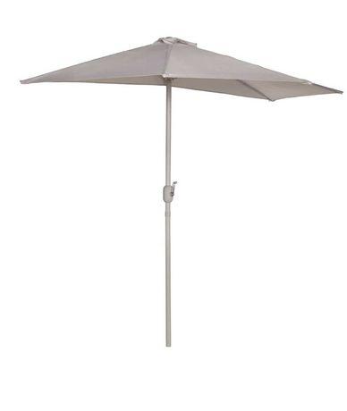 OKAZJA Parasol ogrodowy BIMA 140x265 cm SZARY półokrągły
