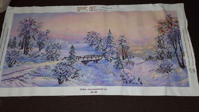 """Картина чешский бисер """"Околдован ный лес""""  на подарок"""