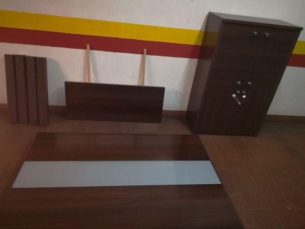 Mesa Extensível Jantar Madeira e Vidro 110x163 + Móvel BAR