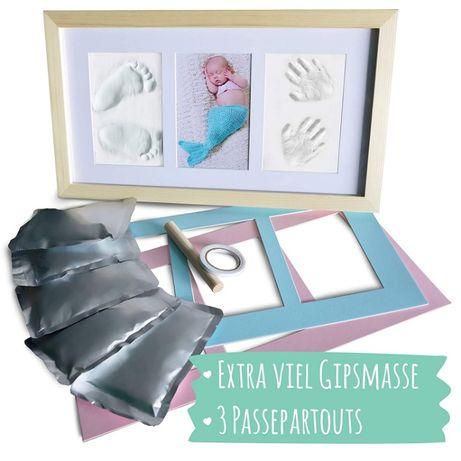 Zestaw pamiątkowy dla malucha gipsowy odcisk dłoni i stopy z ramką z