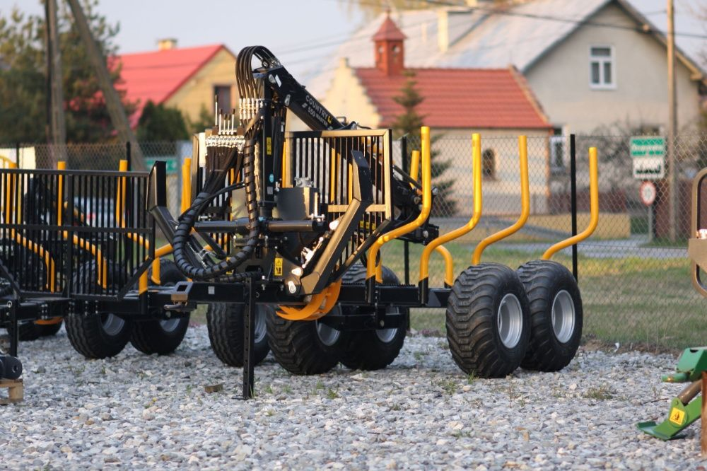 PRZYCZEPA LEŚNA wózek do drewna 7t żuraw dźwig 5,5m HDS chwytak