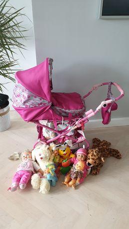 Wózek dla lalek i zestaw zabawek