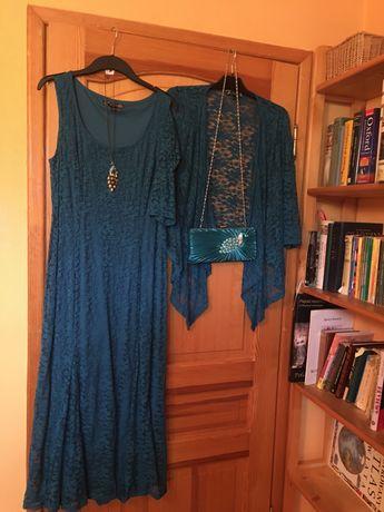 Turkusowa suknia koronkowa Joanna Hope rozmiar 44 plus kardigan.