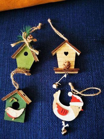 Ozdoby świąteczne choinkowe budki dla ptaka ptak, pierniczek drewniane