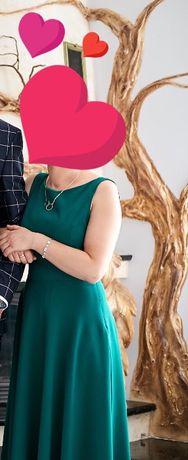 Sprzedam długą, zieloną sukienkę idealną na studniówkę, elegancka