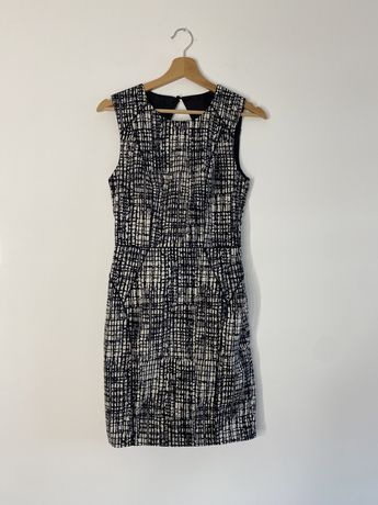 Elegancka sukienka do pracy wizytowa XS S czarna biała
