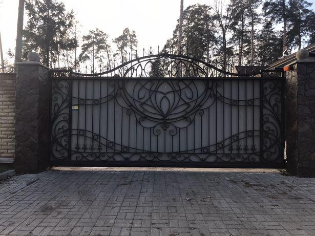 Изготовление откатных, распашных кованых ворот. Навесы, решетки и др.