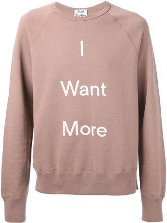 Acne Studios ORIGINAL Men's Pink I Want More Sweatshirt Bluza Męska M