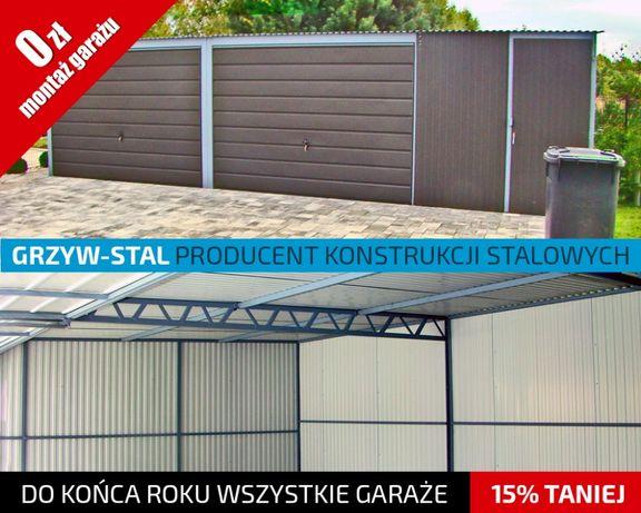 Garaż Blaszany 8x6m - Grafitowy - garaże blaszane,wiaty,hale,schowki