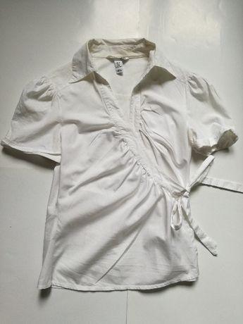 H&M koszula bluzka z kr. rękawem biała wiązana kopertowa rozmiar 38/M