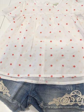 Calções e blusa de menina, 9 anos