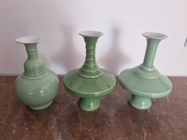 Potes em Porcelana Verde Glaze Oriental Decoração Casa Vintage