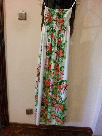 dluga sukienka maxi liscie kwiaty lato s/m