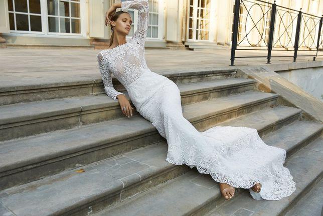 Suknia ślubna Viola Piekut / model Savini / koronka / gipiura/ roz. 36
