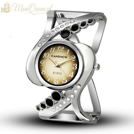 Bransoletka-zegarek czarne oczka i cyrkonie prezent Walentynki