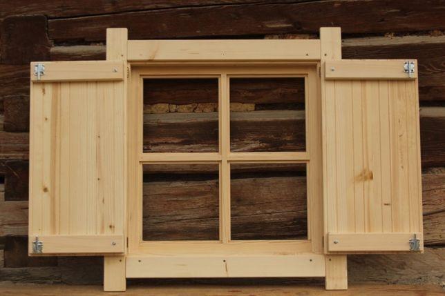 Okno drewniane z okiennicą Domek altana garaż wiata okiennice 65x65cm