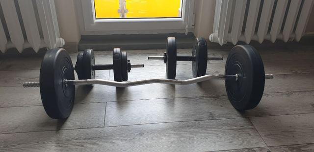Gryf łamany 120 cm 45 kg sztanga obciążenie HANTLE