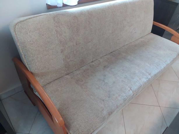 Kanapa sofa jasna rozkladana ze schowkiem +fotel finka