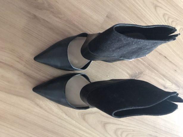 Buty czółenka sandały gladiatorki ZARA czarne nowe rozm.38