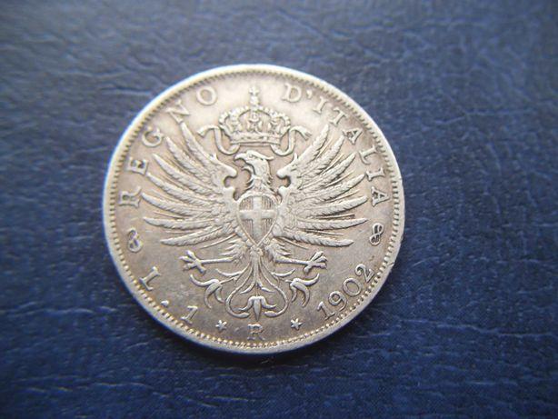 Stare monety 1 lir 1902 Włochy srebro