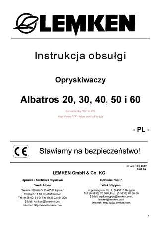 Instrukcja obsługi Opryskiwacz Lemken Primus, Albatros 20, - 60