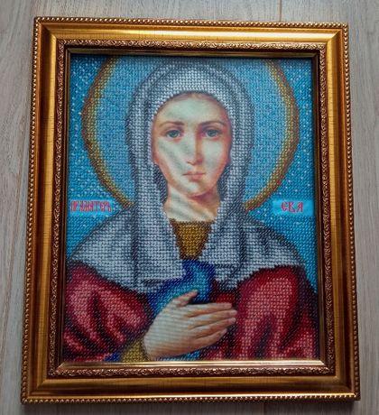 икона вышитая бисером, именная икона Святая праматерь Ева