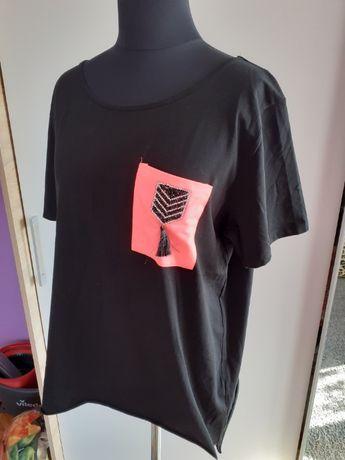 Nowa bluzka tunika czarna oversize XL XXI z różowa neonowa kieszonka