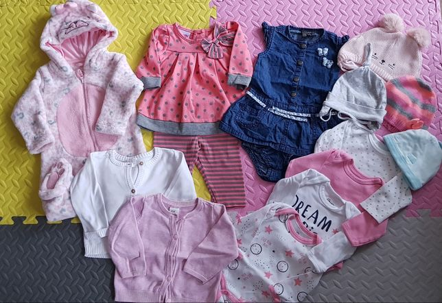 Paka ubrań dla dziewczynki wyprawka ciuszki r.62-74