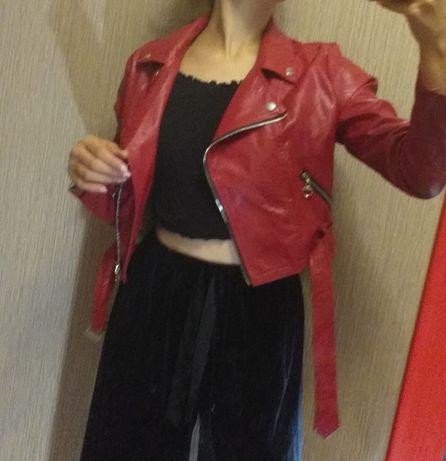 Куртка, косуха красная, женская, подростковая
