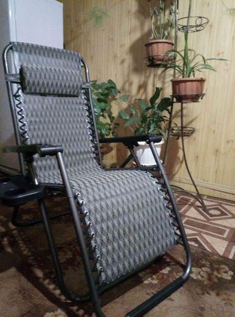 Кресло шезлонг с подстаканником для отдыха СУПЕР прочный