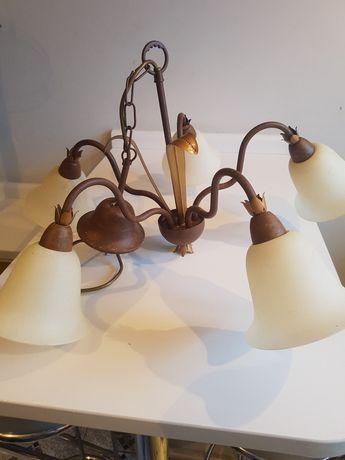 Stary zabytkowy żyrandol mosiężny lampa sufitowa styl retro