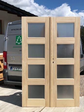 Drzwi dwuskrzydłowe od ręki sosna 133x205cm