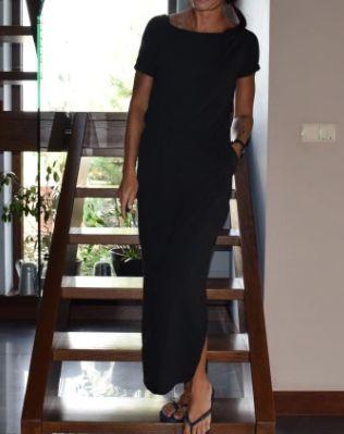Czarna maxi sukienka z kieszonkami 38/40