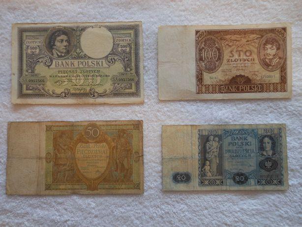 Cztery polskie banknoty