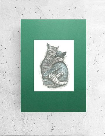 ładny plakat z kotami, koty plakat a4, plakat skandynawski styl obraze