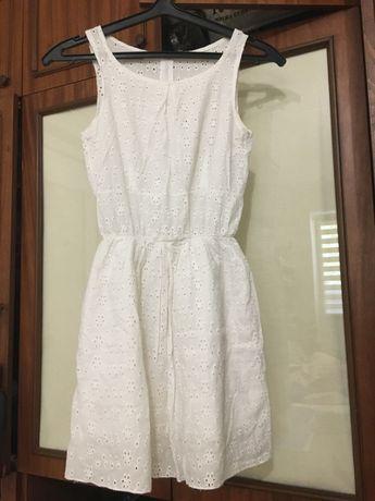 Женское платье дырочка белое хлопок