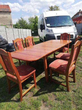 Zestaw dębowy stół z krzesłami masywne