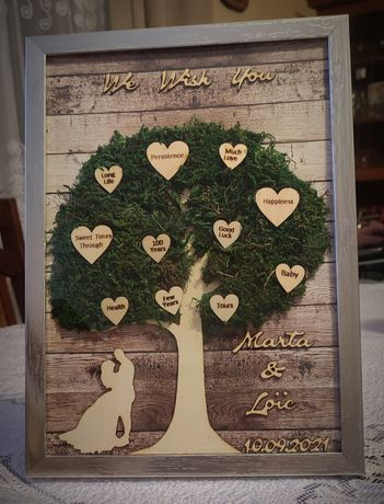 Pamiątka Prezent dla Młodej Pary drzewko z życzeniami slub handmade