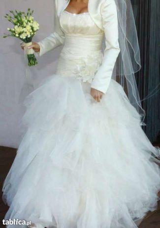 Suknia ślubna hiszpanka, r.38, bolerko