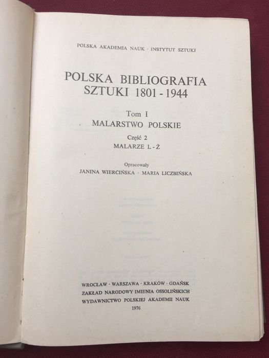 Polska Bibliografia Sztuki 1801  - 1944 Warszawa - image 1