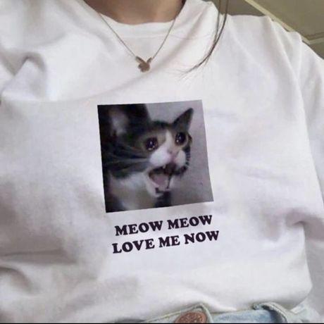 Новая футболка meow love me now по типу zara