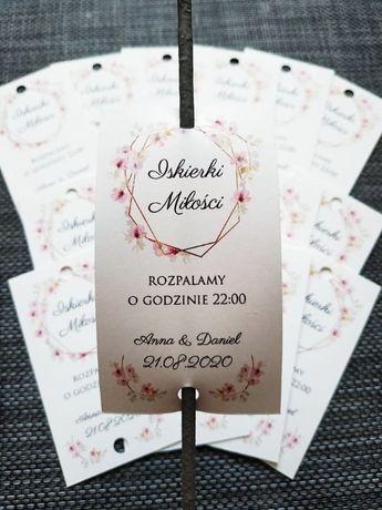 Etykiety na zimne ognie iskierki miłości zawieszki ślub wesele